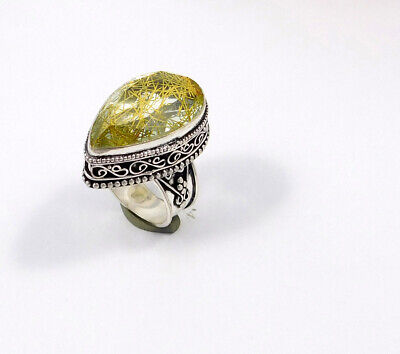 Golden Needle Rutile .925 Silver Plated Carving Ring Size-7.50 Jewelry JC7564