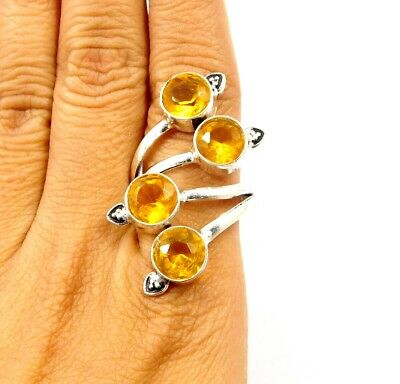 Citrine Quartz .925 Silver Awesome Carving Ring Jewelry Ring Size 9.25 JC7775