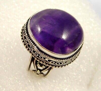 Amethsyt Lace  .925 Silver Plated Carving Ring Size-8.50 Jewelry JC4553