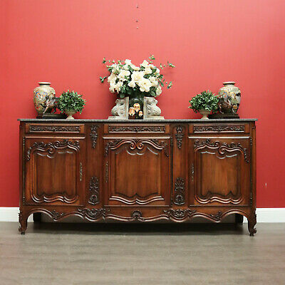 Antique French Walnut Sideboard Buffet Cabinet, 3 Drawers and Cupboard Storage