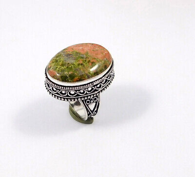 Unakite .925 Silver Plated Carving Ring Size-8.50 Jewelry JC7536