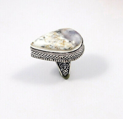 Dendrite Opal .925 Silver Plated Carving Ring Size-9 Jewelry JC7520
