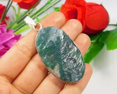 Green Moss Agate Druzy .925 Silver Plated Handmade Pendant Jewelry JC3700