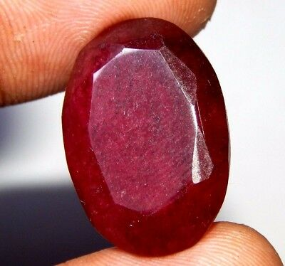 Lab-created Faceted Dyed Ruby Gemstone 12 ct 17x14mm F991