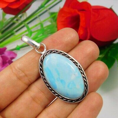 Heated Larimar .925 Silver Plated Handmade Pendant Jewelry JC3683