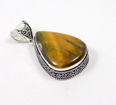 Tiger's Eye .925 Silver Plated Carving Pendant Jewelry JC7485