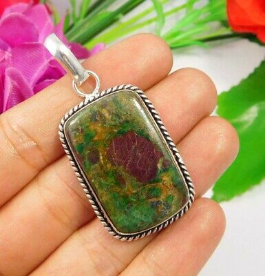 Ruby Zoisite .925 Silver Plated Handmade Pendant Jewelry JC3728