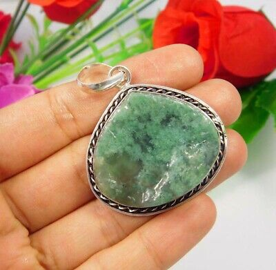 Green Moss Agate Druzy .925 Silver Plated Handmade Pendant Jewelry JC3707