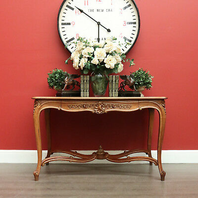An impressive Antique French Walnut and Gilt Trim Console Table Hall Sofa Table