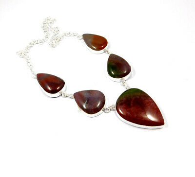 Blood Stone .925 Silver Plated Handmade Necklace Jewelry JC10188