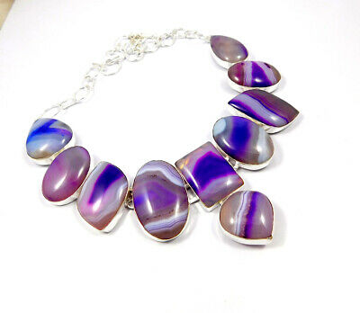 Botswana Agate .925 Silver Plated Handmade Necklace Jewelry JC10189