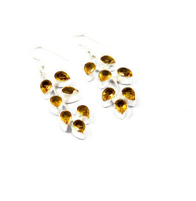Citrine Quartz .925 Silver Plated Handmade Earring Jewelry JC10100