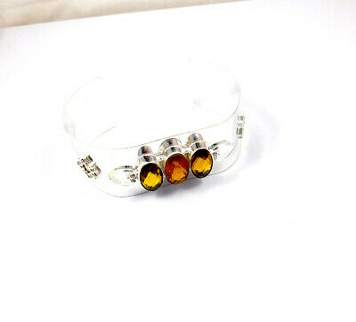 Citrine Quartz .925 Silver Plated Handmade Bangle Cuff Jewelry JC10118
