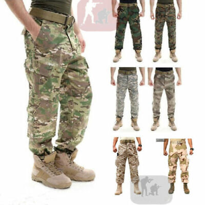 Army Cargo Camo Combat Military Mens Trousers Pants Camouflage Slacks Casual-+E9