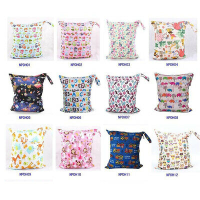 1×U Pick Wet Dry Bag Baby Cloth Diaper Nappy Bag Waterproof Liner with 2 Pockets