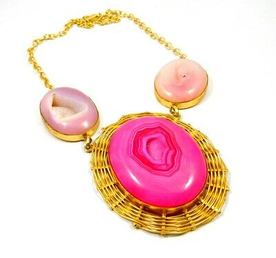 Window Druzy Agate Gold Plated Necklace Fashion Jewelry Festival Gift A1010