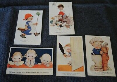 5 ORIGINAL SIGNED MABEL LUCIE ATWELL COMIC CHILDREN POSTCARDS 1920s USED #36