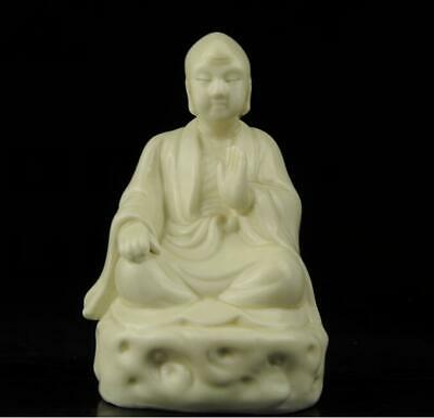 chinese old Dehua white porcelain hand-carved look door arhat Buddha statue b02