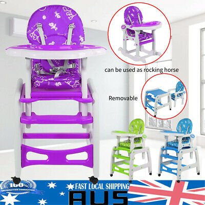 3 in 1 Baby Toddler High Chair Feeding Booster Chair/Writing Table/Rocking Horse