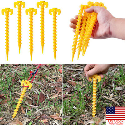 US 10pcs Hook Plastic Stakes Support Ground Nail Tent Peg Screw Anchor Shelter r