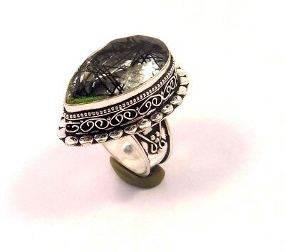 Black Needle Rutile .925 Silver Plated Handmade Ring Size-7 Gift JC6749