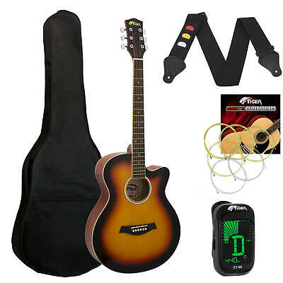 Tiger Sunburst Acoustic Guitar Pack for Students - Including FREE Tuner