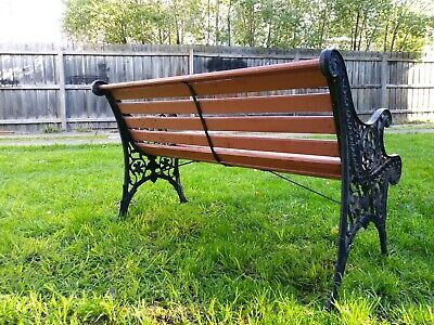 Garden bench seat Vintage cast iron and timber