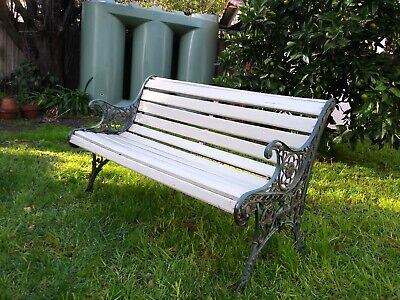 Garden bench seat Vintage cast iron timber