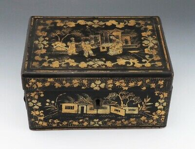 Ornate Antique Chinese Black, Red and Gold Lacquered Wooden Tea Box