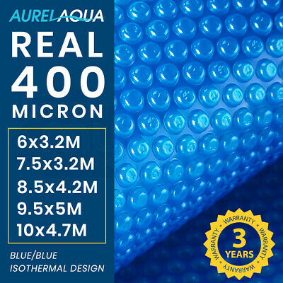 AURELAQUA Solar Swimming Pool Cover 500 Micron Outdoor Bubble Blanket Heater