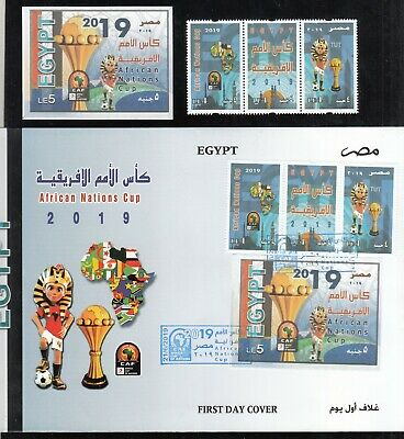 Egypt  2019 Newly Issued Football African Nations Cup Strip + S/S + Fdc