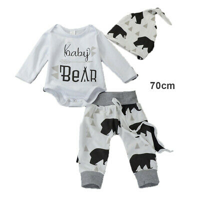 3x Newborn Baby Boy Girl Long Sleeve Tops Pants Hat Outfits Set Clothes DXB