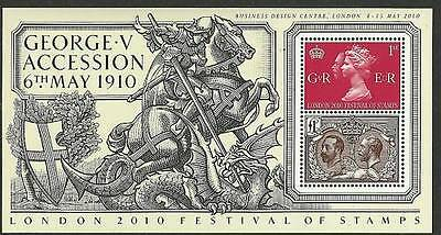 London 2010 King George V Accession Stampex Overprint Minisheet Ms3065 Um