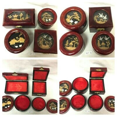 VINTAGE Chinese Cork Scene Wooden Jewellery Box Set Of 4 Assorted Trinket Boxes
