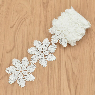 2 Yards Embroidered Lace Trims Ribbon Snowflake DIY Sewing Craft Trimmings