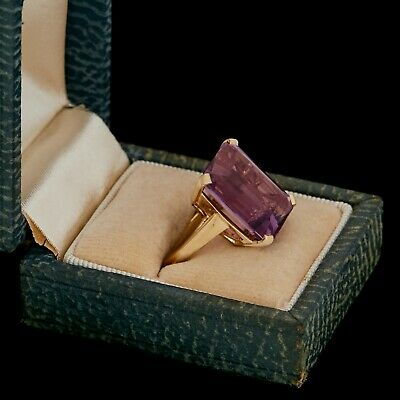 Antique Vintage Art Deco Retro 14k Yellow Gold Faceted Amethyst Womens Ring Sz 5