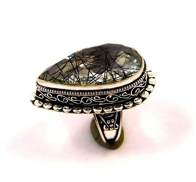 Black needle Rutile .925 Silver Plated Handmade Ring Size-8.50 Gift JC6788