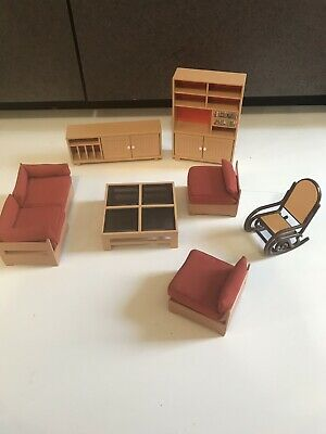 Lot Vtg 70s TOMY Smaller Home Garden Dollhouse Furniture Living Room Tables couc