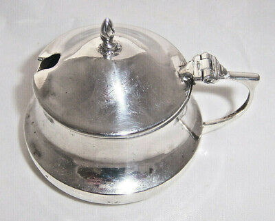Solid Silver Mustard Pot With Blue Glass Liner - Birmingham 1920 - I S Greenberg