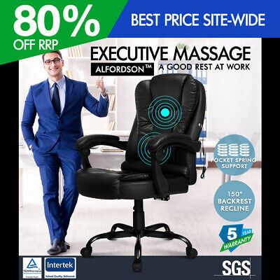 ALFORDSON Massage Office Chair Executive Recliner Gaming Racing Seat PU Leather