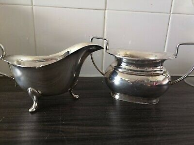 Silver Plated Gravy Boat And Sugar Bowl EPNS A1 Atkin Brothers Sheffield Antique