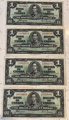 Lot of 4 1937 $1 Dollar Bank of Canada Bank Notes