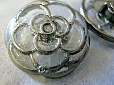 Chanel 1 Silver Metal Cc Logo Front Auth. Glass Buttons 19 Mm /  3/4''