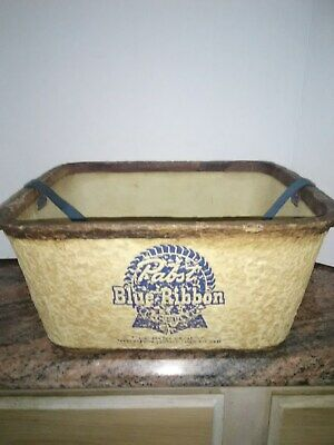 Vintage Pabst Blue Ribbon Beer Carrier Carton  Bottle Case with Strap, Rare!
