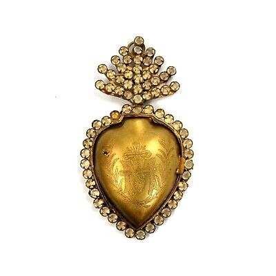 Sacred Heart Ex Voto Milagro Cachette Gold Burning Locket Box Rhinestone Jeweled