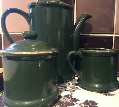 VINTAGE 90s GREEN/GOLD COFFEE SET WITH SUGAR BOWL-MILK/CREAM JUG AND BUTTER DISH