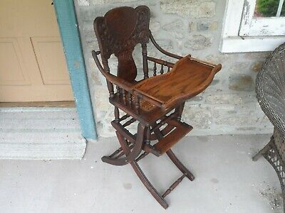 Antique Victorian Oak Wood High Chair Cane Seat Pressed Back Convertible Rocker