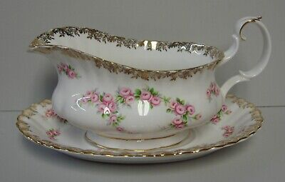 Royal Albert DIMITY ROSE Gravy Boat with Under Plate BEST More Items Available