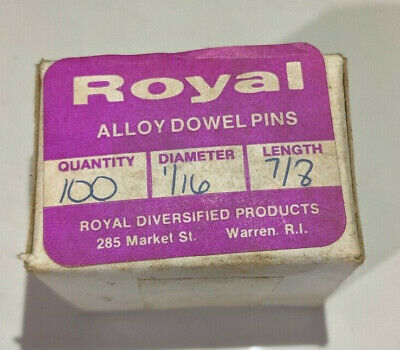"""Pack of 100 - 1/16"""" x 7/8"""" Royal Dowel Pins Alloy Steel"""