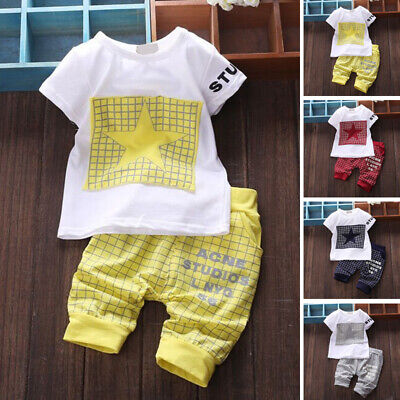Set & T-shirt Pants Infant Baby Casual Sleeve Kids Outfits Star 2pcs Girl Child